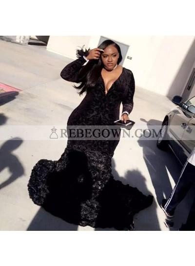 2020 New Arrival Long Sleeve Mermaid  Velvet Black V-neck Prom Dresses