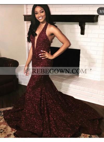 Sexy Deep V Neck Shiny Burgundy Backless Sequence Prom Dresses 2021