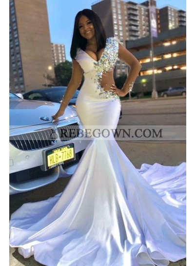 2021 Sexy White V-neck Mermaid Beaded Prom Dresses