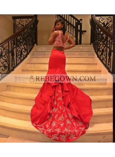 2021 Gorgeous Red Two Piece Mermaid Satin Prom Dresses