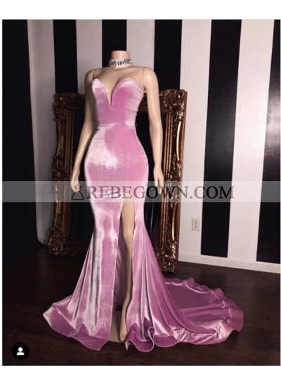 2020 Sweetheart Peach Split Mermaid  Satin Prom Dresses