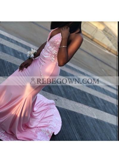 2021 Unique Pink Halter Lace Sequin Satin Prom Dresses