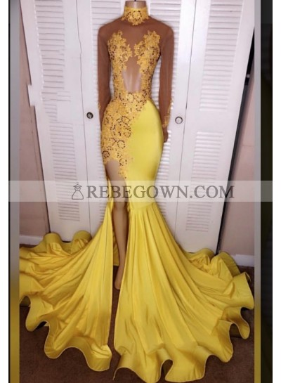 2021 Junoesque Yellow Split Mermaid Long Sleeve Satin Prom Dresses