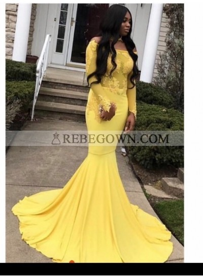2021 Off the shoulder Long Sleeve Yellow Mermaid  Prom Dresses