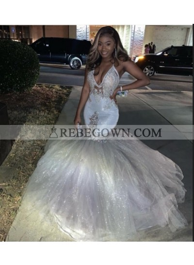 2021 Halter Sexy Beaded Tulle Silver Prom Dresses