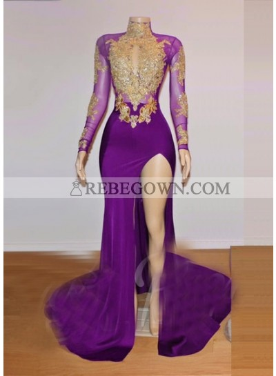 2021 Long Sleeve High Neck Beaded Split Prom Dresses