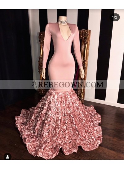 2021 Long Sleeve Dusty Rose V-neck Mermaid  Prom Dresses