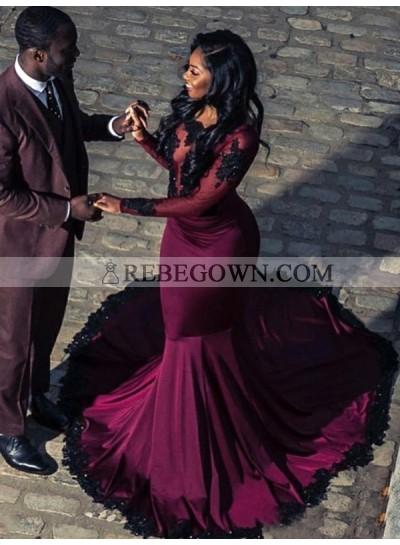 2021 Long Sleeves Burgundy Applique Satin Mermaid  Prom Dresses
