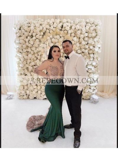 2020 Long Sleeve Dark Green Mermaid  Prom Dresses
