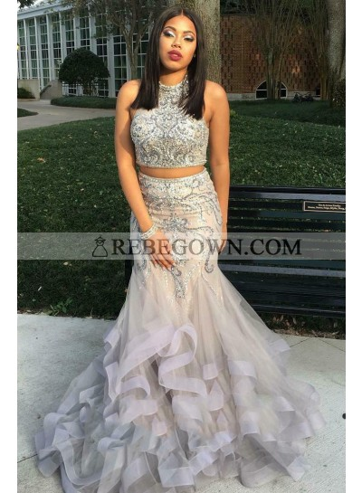 Two Piece Beading Layers High Neck Mermaid  Organza 2021 Unique Gray Prom Dresses