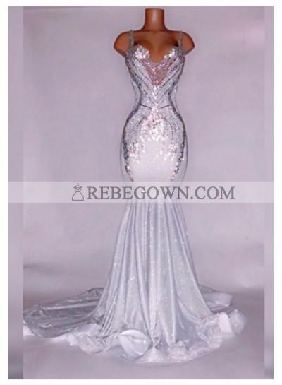 Alluring Silver Satin Beaded Mermaid  Prom Dresses