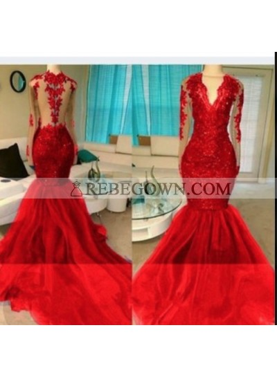 2021 Red Appliques Long Sleeve V-neck Prom Dresses