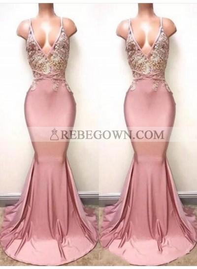 2020 Sexy V-neck Train Mermaid Lace Beaded Prom Dresses