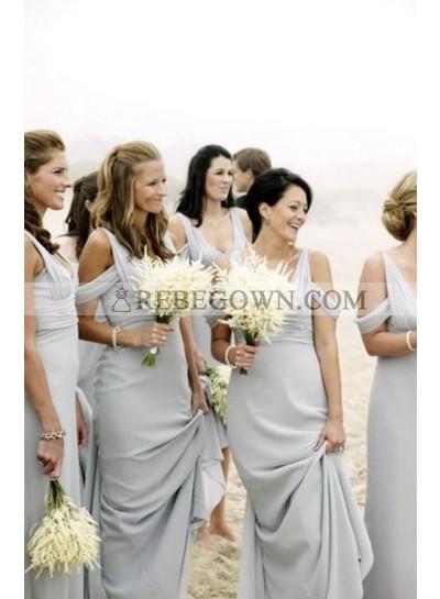 2020 Cheap A Line Chiffon Silver Floor Length Ruffles Bridesmaid Dresses / Gowns