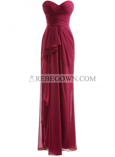 Classical Burgundy Sweetheart Empire Pleated  Floor Length Chiffon Bridesmaid Dresses / Gowns