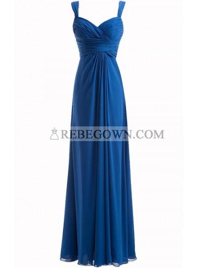 Simple Cheap Blue Sweetheart Long Ruffles Chiffon Bridesmaid Dresses / Gowns