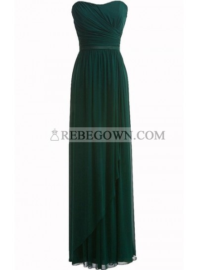 Wonderful Hunter Green Chiffon Ruffle Sweetheart Floor Length Empire Bridesmaid Dresses / Gowns