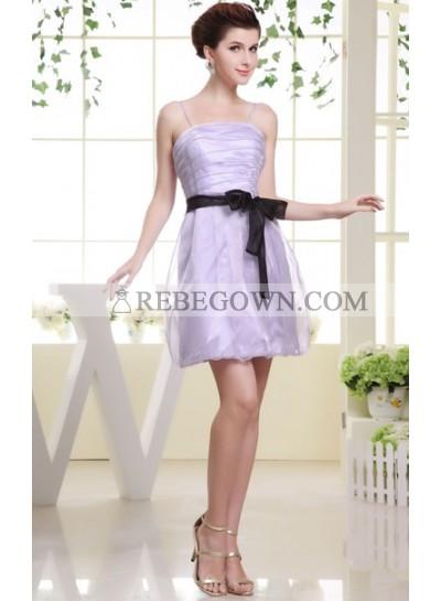 2021 Sleeveless Lilac Ruching Spaghetti Strap Bridesmaid Dresses