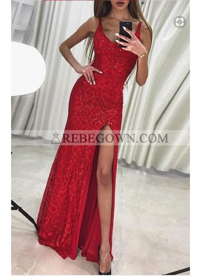 2021 Charming Column/Sheath Red Side Slit Sequence Prom Dresses