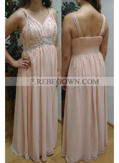 Natural Straps Beading Long Floor length Chiffon Prom Dresses