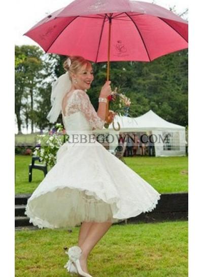 Distinct Lace Bateau Half sleeve A-line Knee Length Wedding Dresses / Gowns