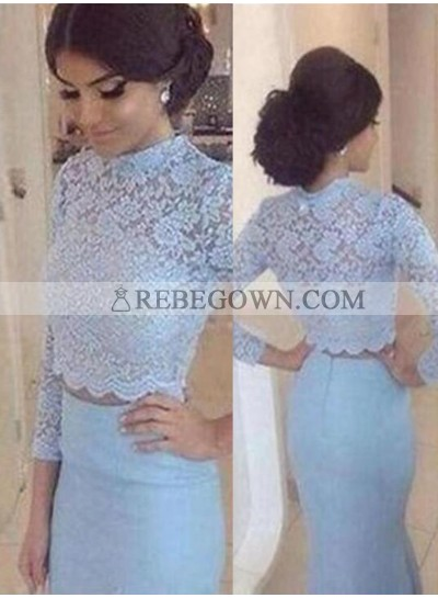 Mermaid Natural Waist Zipper Long Sleeve Lace Prom Dresses