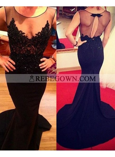 2020 Junoesque Black Hot Illusion Appliques Mermaid Prom Dresses