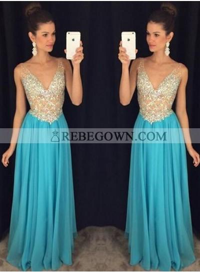 2020 Cheap Chiffon Princess/A-Line V-neck Prom Dresses