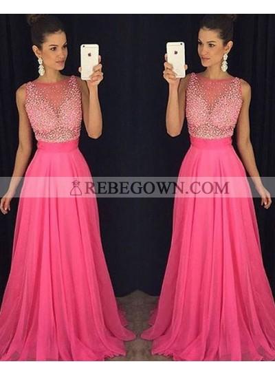 Chiffon 2021 Charming Princess/A-Line Fuchsia Beaded Prom Dresses