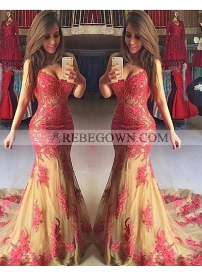 2020 Gorgeous Red Sexy Appliques Sweetheart Mermaid Tulle Prom Dresses
