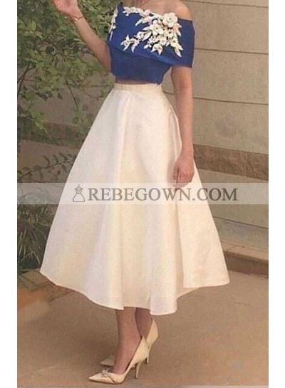 Flowers Off-the-Shoulder A-Line Satin Two Pieces Prom Dresses