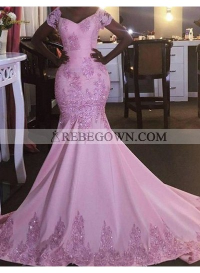 Beading Off-the-Shoulder Mermaid Stretch Satin Prom Dresses