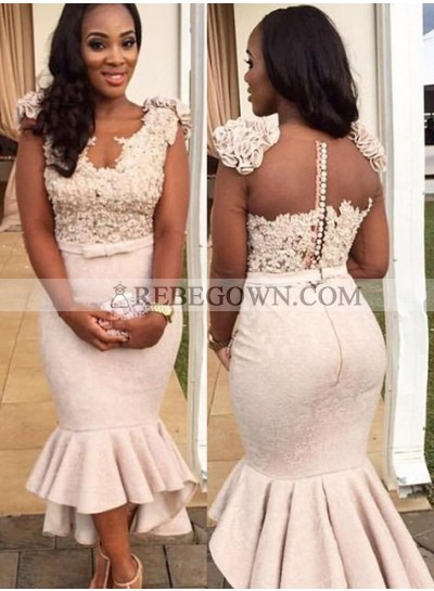 2021 Unique White Beading Ruffled Mermaid Satin Prom Dresses