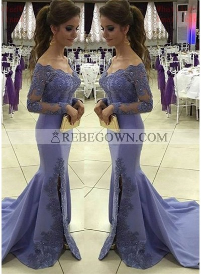2020 Sexy Mermaid Satin Long Sleeves Lavender Prom Dresses