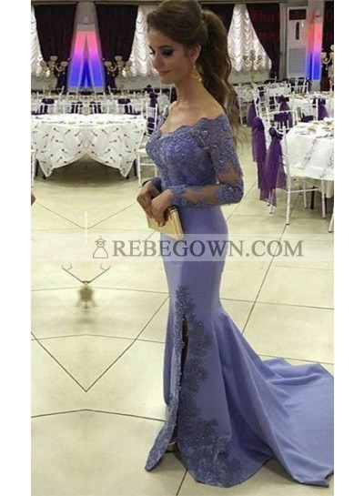 Beading Appliques Off-the-Shoulder Chiffon Long Sleeve rebe gown 2021 Blue Prom Dresses