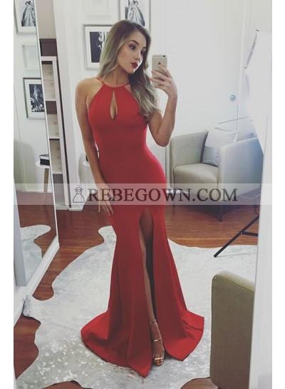 2021 Sexy Mermaid Red Satin Side Slit Prom Dresses