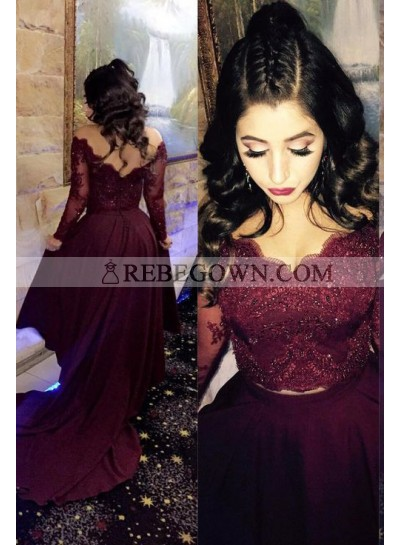 2020 Siren Princess/A-Line Satin Burgundy Long Sleeves Prom Dresses Two Pieces