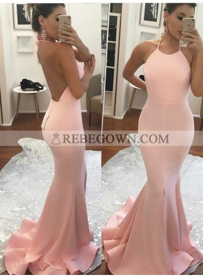 2021 Long Prom Dresses Sexy Trumpet/Mermaid  Pink Backless