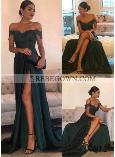 2020 Siren Princess/A-Line Satin Off The Shoulder Side Slit Dark Green Prom Dresses
