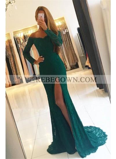 2020 Siren Column/Sheath Long Sleeves Lace Side Slit Prom Dresses