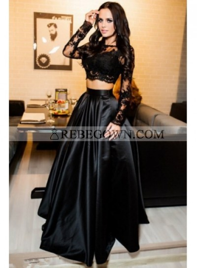 2021 Siren Princess/A-Line Black Long Sleeves Two Pieces Satin Prom Dresses