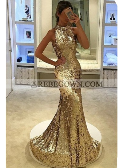 2021 Siren Mermaid Gold Sequence Prom Dresses