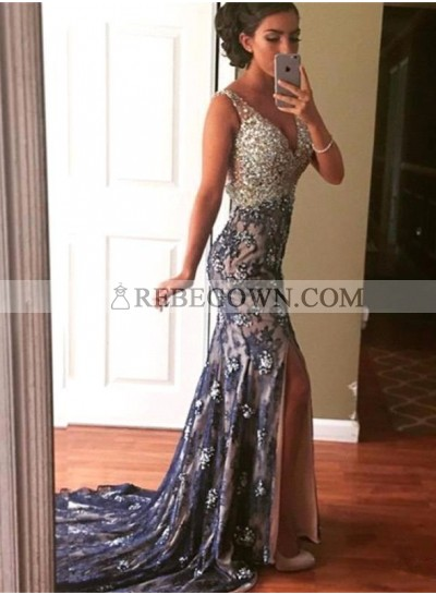 2020 Sexy Mermaid Sweetheart Lace Side Slit Prom Dresses