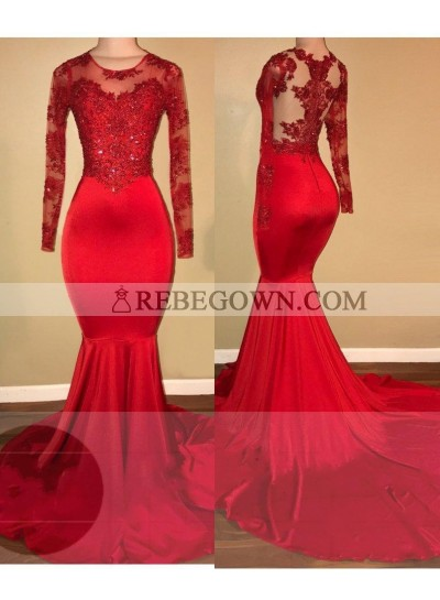 rebe gown 2020 Red Mermaid  Prom Dresses Chiffon Scoop Neck