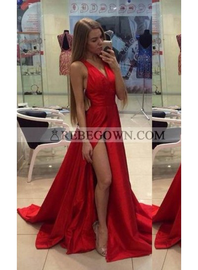 2021 Gorgeous Red V-Neck High-Slit A-Line Satin Prom Dresses
