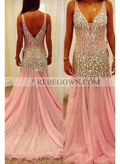 Long Floor length Beading Straps A-Line Tulle Prom Dresses 2021 Glamorous Pink