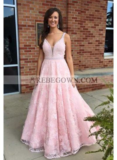 Pink Princess/A-Line Lace Sweetheart Prom Dresses Cheap