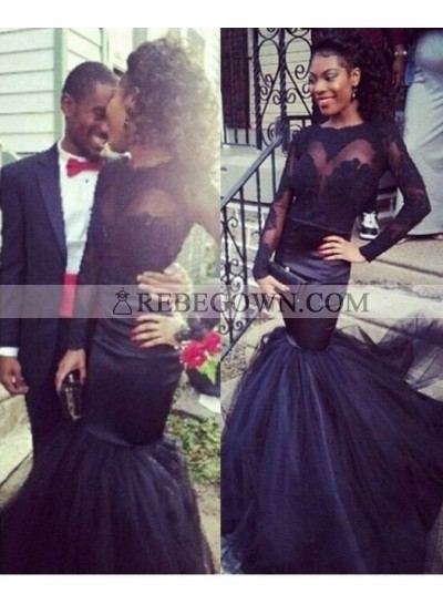 2021 Junoesque Black Long Sleeve Mermaid Satin Prom Dresses