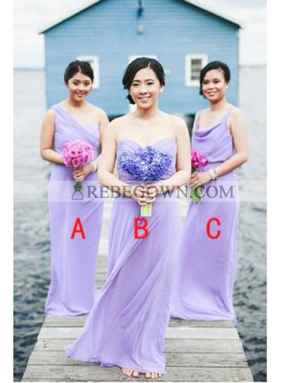 2020 Cheap A Line Lilac Chiffon Floor Length Bridesmaid Dresses / Gowns