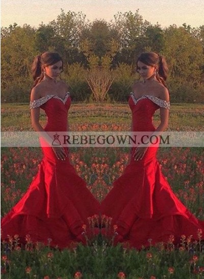 2021 Gorgeous Red Crystal Sweetheart Mermaid Satin Prom Dresses